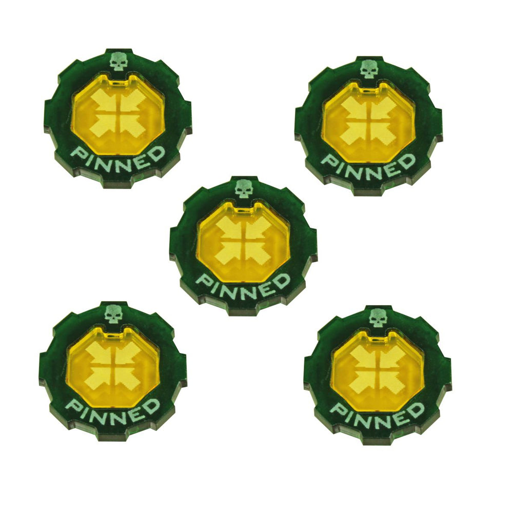 Armageddon 2-Tone Pinned Token Set, Transparent Yellow & Translucent Green (5) - LITKO Game Accessories
