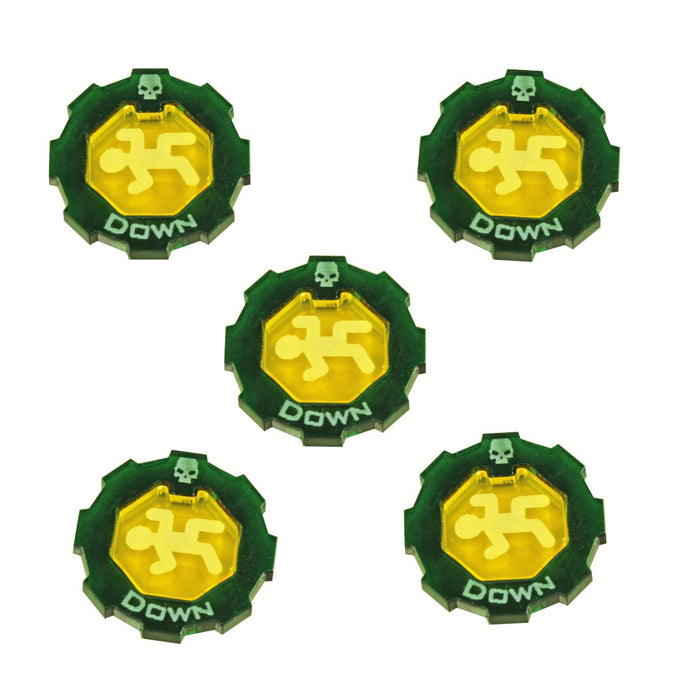 Armageddon 2-Tone Down Token Set, Transparent Yellow & Translucent Green (5) - LITKO Game Accessories