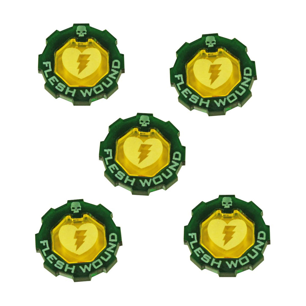 Armageddon 2-Tone Flesh Wound Token Set, Transparent Yellow & Translucent Green (5) - LITKO Game Accessories