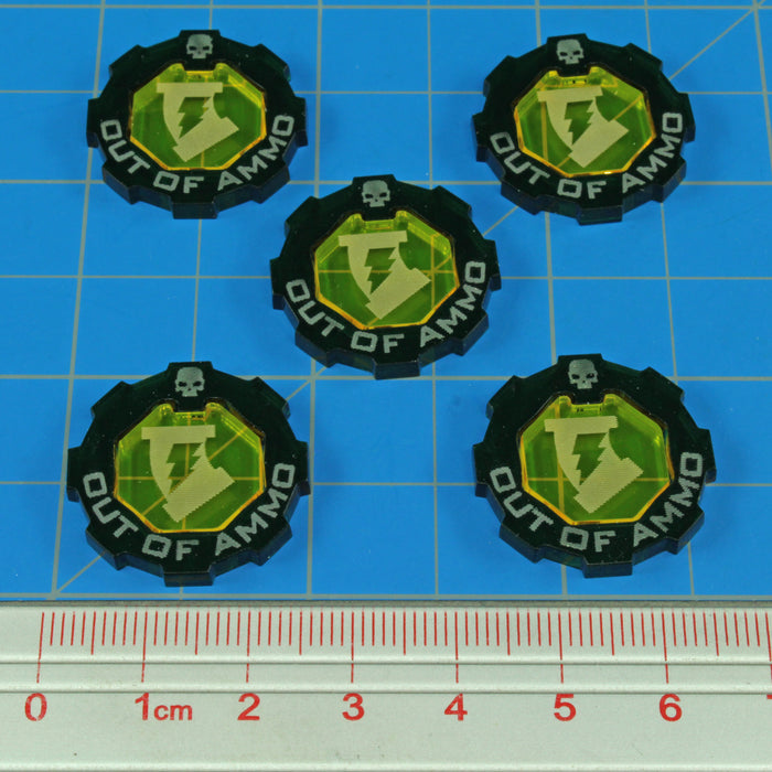 Armageddon 2-Tone Out of Ammo Token Set, Transparent Yellow & Translucent Green (5) - LITKO Game Accessories