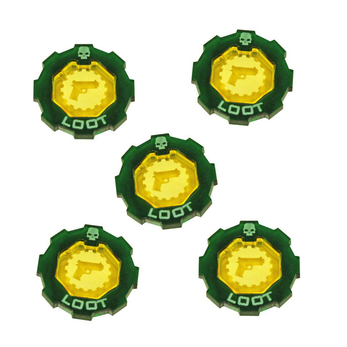 Armageddon 2-Tone Loot Token Set, Transparent Yellow & Translucent Green (5) - LITKO Game Accessories
