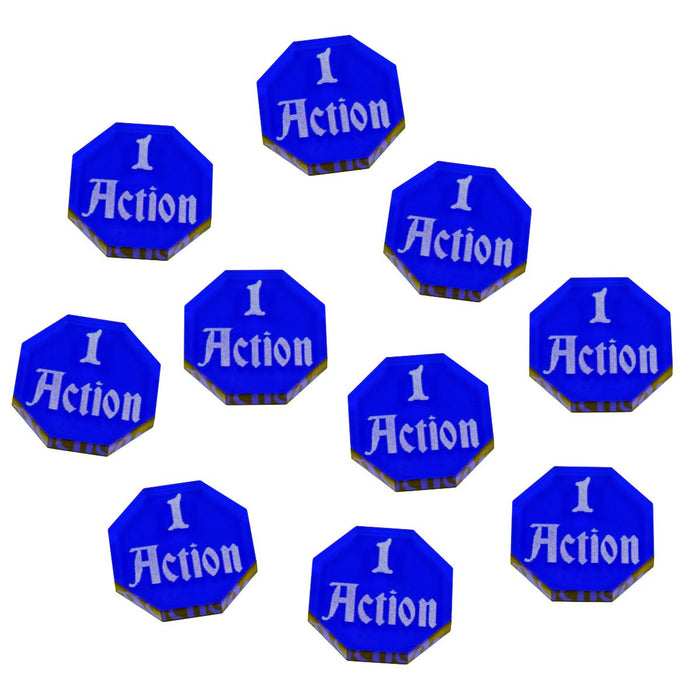 FG: 1-Action Tokens, Translucent Blue (10) - LITKO Game Accessories