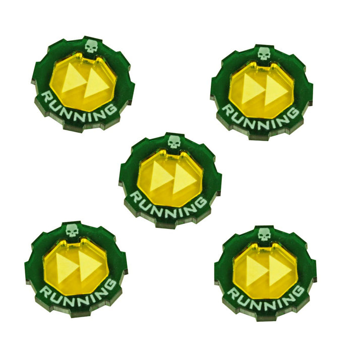 Armageddon 2-Tone Running Token Set, Transparent Yellow & Translucent Green (5) - LITKO Game Accessories