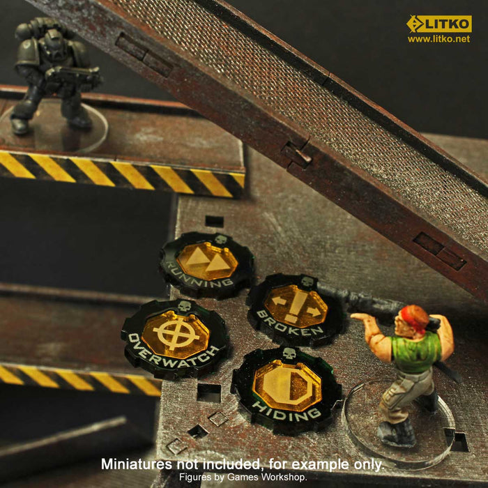 Armageddon 2-Tone Hiding Token Set, Transparent Yellow & Translucent Green (5) - LITKO Game Accessories