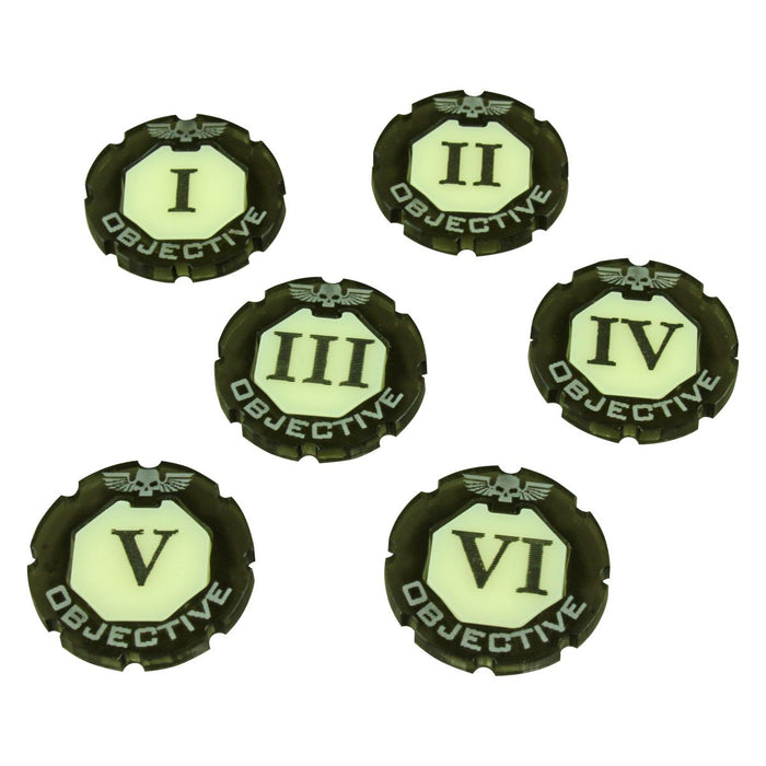 WHv8: Premium 2-tone Objective Token Set, Numbered 1-6 (6) - LITKO Game Accessories