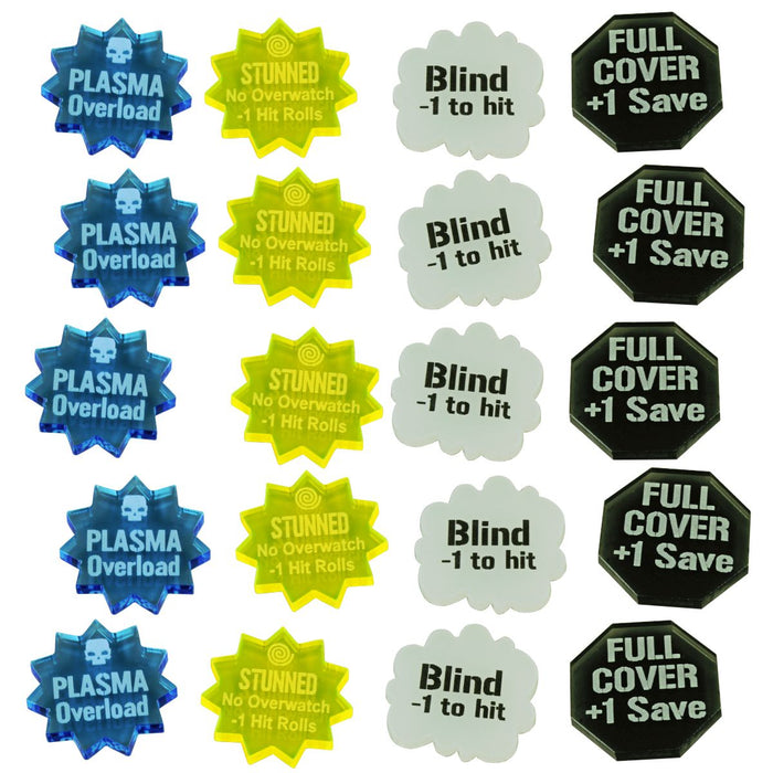 WHv8: Combat Effects Token Set, Multi-Color (20) - LITKO Game Accessories