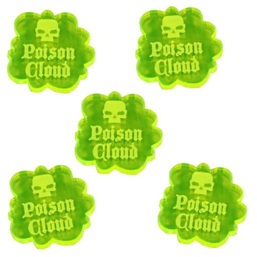 Poison Cloud Tokens, Fluorescent Green (5) - LITKO Game Accessories