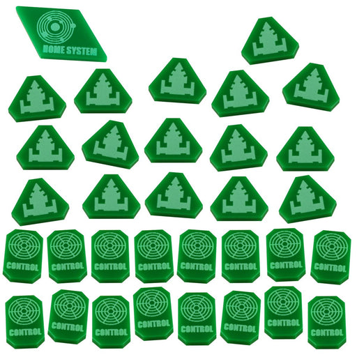 LITKO Command & Control Token Set compatible with TI:4, Green (33) - LITKO Game Accessories