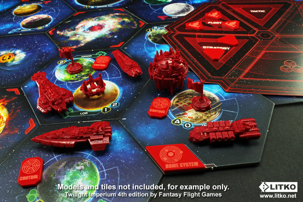 LITKO Command & Control Token Set compatible with TI:4, Red (33) - LITKO Game Accessories