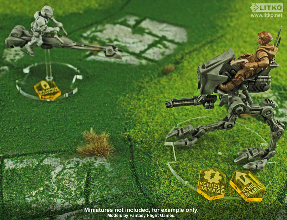 Vehicle Combat Token Set Compatible with SW: Legion, Transparent Yellow  (10) - LITKO Game Accessories