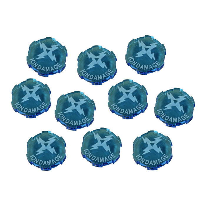 Ion Damage Tokens Compatible with SW: Legion, Fluorescent Blue (10) - LITKO Game Accessories