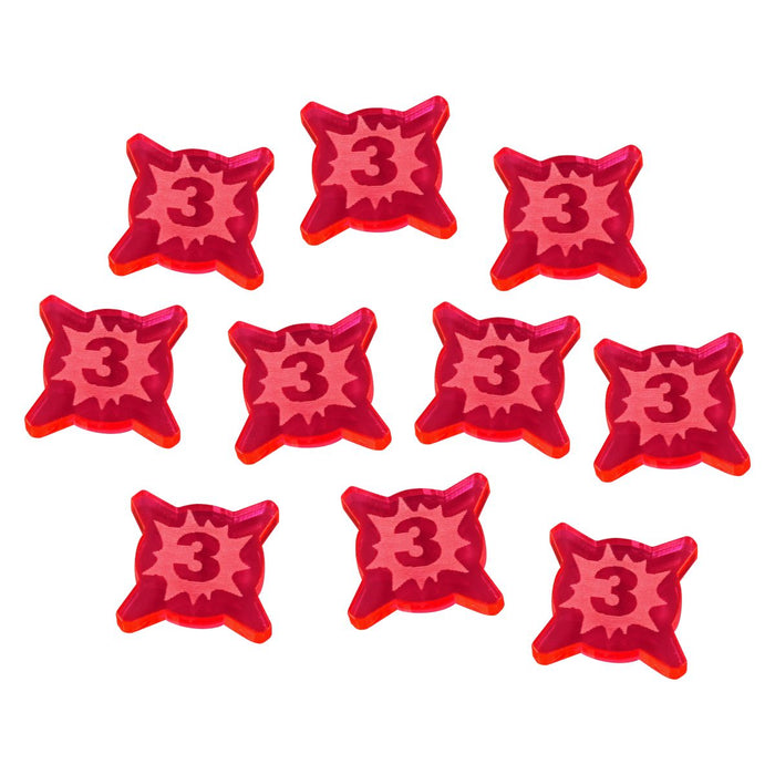 3-Wound Tokens Compatible with SW: Legion, Fluorescent Pink (10) - LITKO Game Accessories