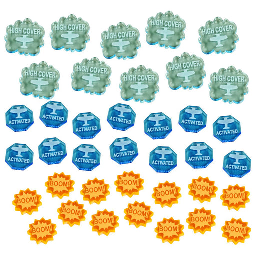 Activate, Boom! and High Cover Token Set Compatible with BRS, Multi-Color (38) - LITKO Game Accessories