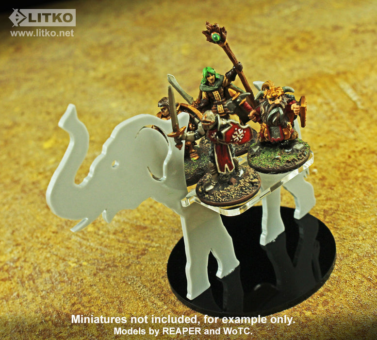 Elephant Character Mount with 3 inch Circular Base, Grey - LITKO Game Accessories