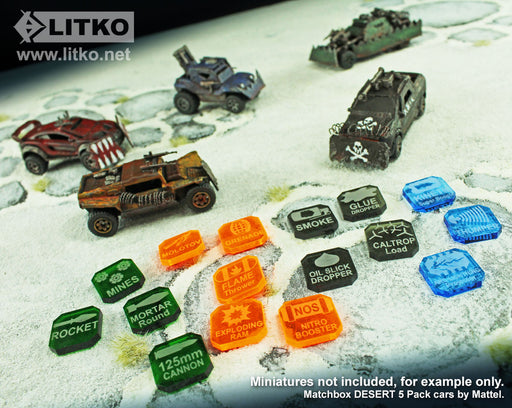 Gaslands Miniatures Game Weapons Tokens Set, Multi-Colored (38) - LITKO Game Accessories