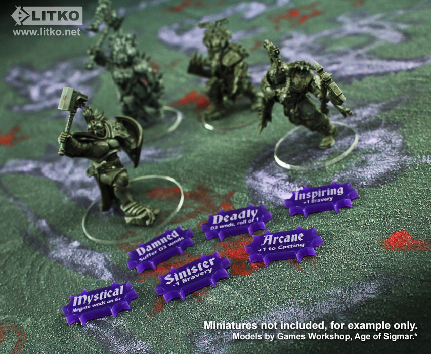 LITKO Scenery Effects Token Set Compatible with AoS: 2nd Edition, Purple (30) - LITKO Game Accessories