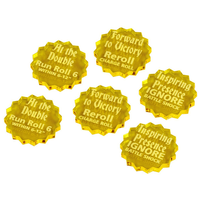 LITKO Command Ability Token Set Compatible with AoS: 2nd Edition, Transparent Yellow (6) - LITKO Game Accessories
