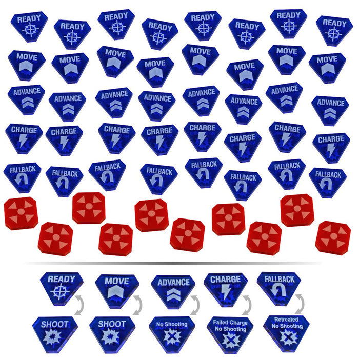 LITKO Combat Token Set compatible with WH:KT, Translucent Blue & Red (50) - LITKO Game Accessories