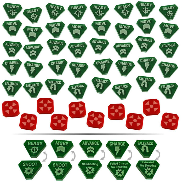 LITKO Combat Token Set compatible with WH:KT, Translucent Green & Red (50) - LITKO Game Accessories