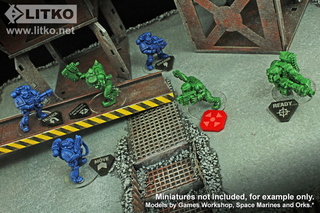 LITKO Combat Token Set compatible with WH:KT, Translucent Grey  & Red (50) - LITKO Game Accessories