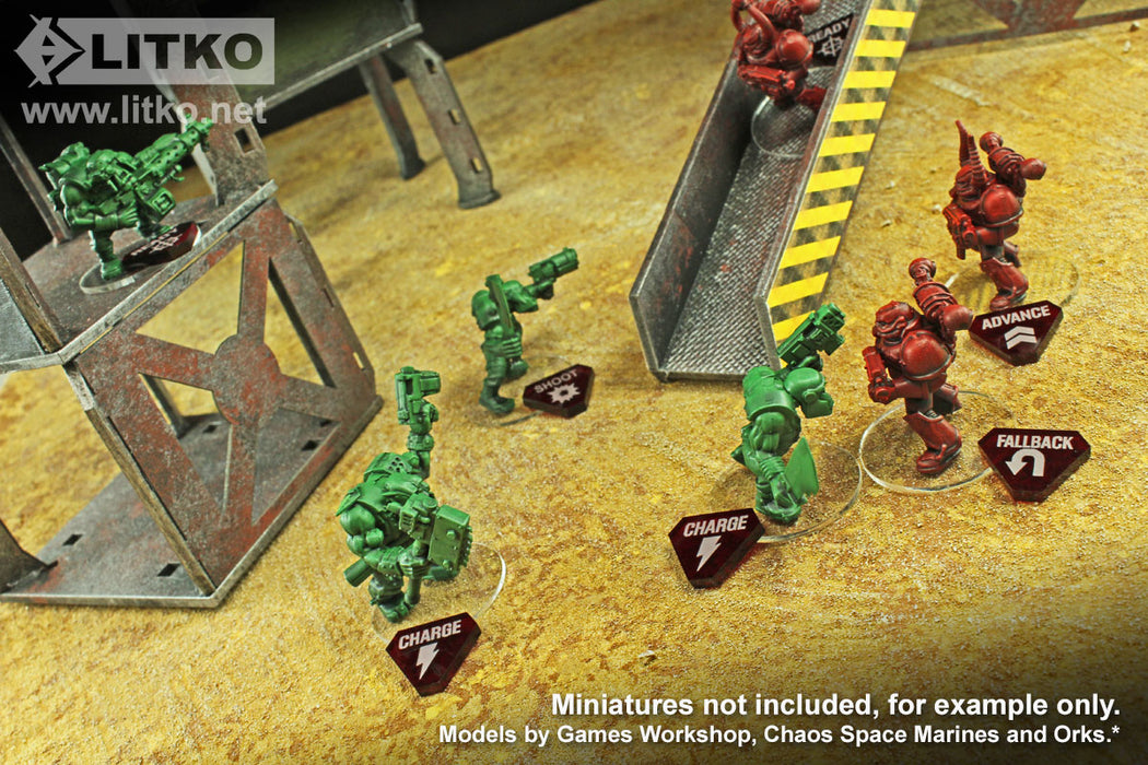 LITKO Combat Token Set compatible with WH:KT, Translucent Red & Red (50) - LITKO Game Accessories