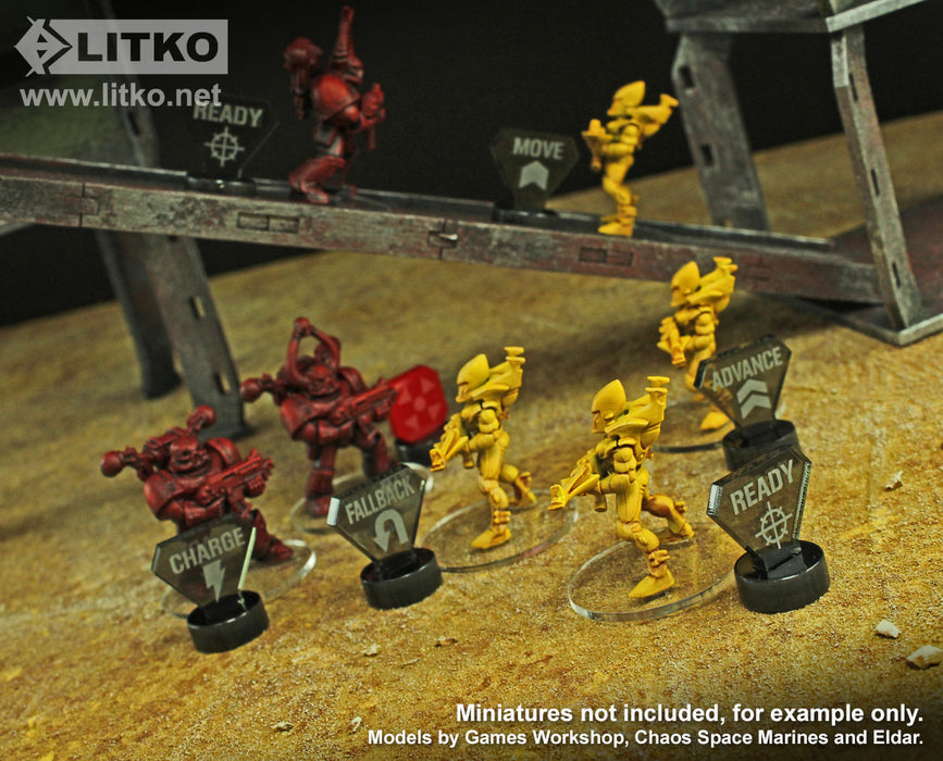 LITKO Combat Mega-Marker Set Compatible with WH:KT, Translucent Grey & Red (30) - LITKO Game Accessories