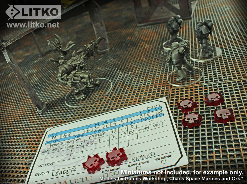 LITKO Flesh Wound Tokens compatible with WH: KT, Translucent Red (15) - LITKO Game Accessories