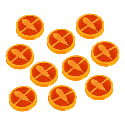 LITKO Space Fighter 2nd Edition Disarmed Tokens, Fluorescent Orange (10) - LITKO Game Accessories