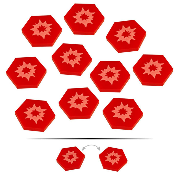 LITKO Space Fighter 2nd Edition Double-Sided Critical Damage Tokens, Red (10) - LITKO Game Accessories