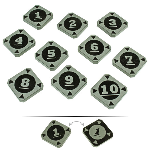 LITKO Space Fighter 2nd Edition Double-Sided Target Lock Token Set 1-10, Black (10) - LITKO Game Accessories