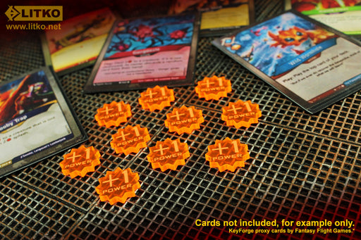 LITKO +1-Power Tokens Compatible with Forged Key Card Game, Fluorescent Orange (10) - LITKO Game Accessories