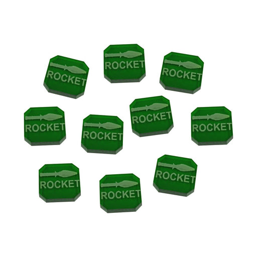 Gaslands Miniatures Game Rocket Ammo Tokens, Translucent Green (10) - LITKO Game Accessories