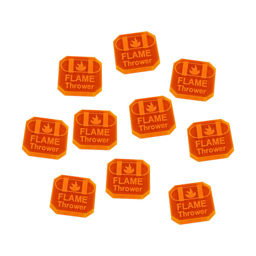 Gaslands Miniatures Game Flame Thrower Ammo Tokens, Fluorescent Orange (10) - LITKO Game Accessories