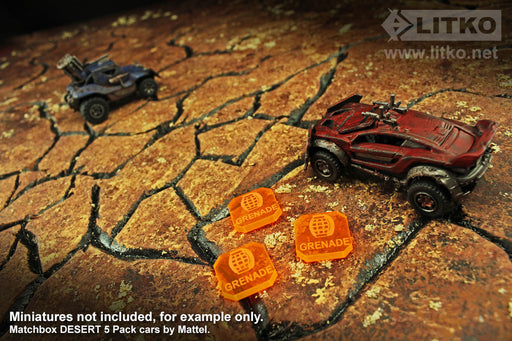 Gaslands Miniatures Game Grenade Tokens, Fluorescent Orange (10) - LITKO Game Accessories