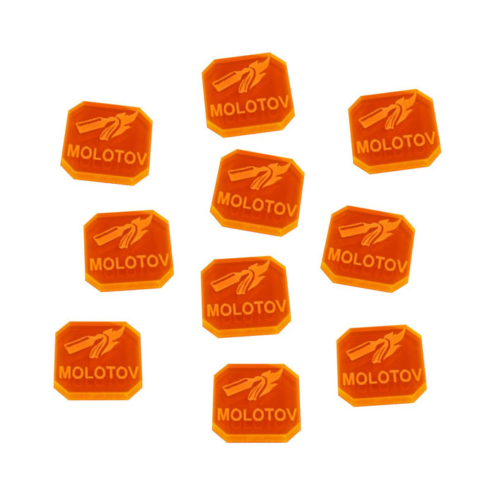 Gaslands Miniatures Game Molotov Ammo Tokens, Fluorescent Orange (10) - LITKO Game Accessories