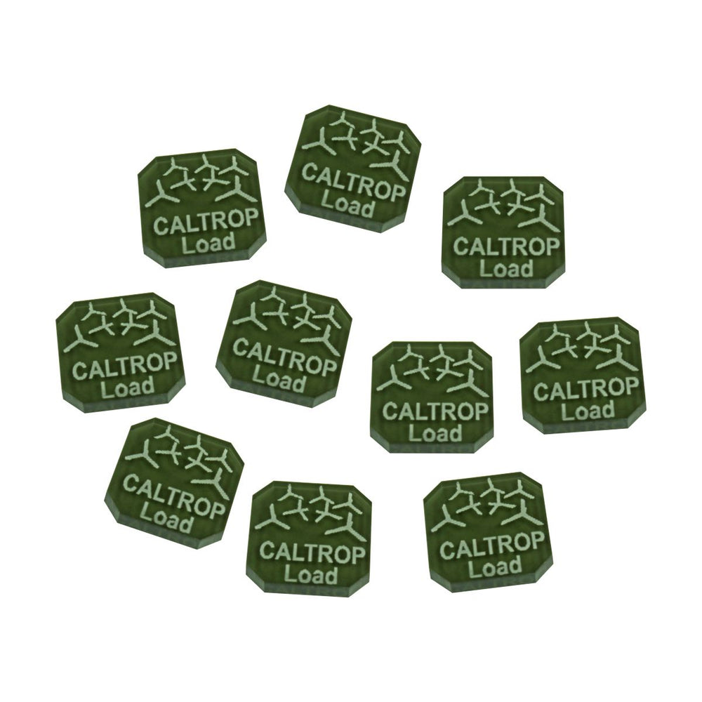 Gaslands Miniatures Game Caltrop Load Ammo Tokens, Translucent Grey (10) - LITKO Game Accessories