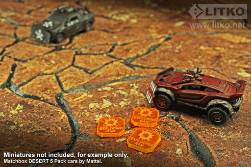 Gaslands Miniatures Game Exploding Ram Ammo Tokens, Fluorescent Orange (10) - LITKO Game Accessories