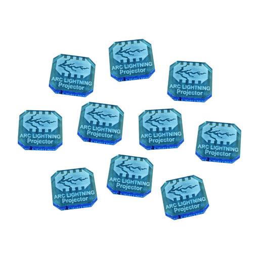 Gaslands Miniatures Game Arc Lightning Projector Ammo Tokens, Fluorescent Blue (10) - LITKO Game Accessories