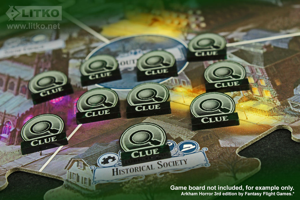 LITKO Clue Tokens Compatible with Arkham 3rd Edition, Translucent Green (10) - LITKO Game Accessories