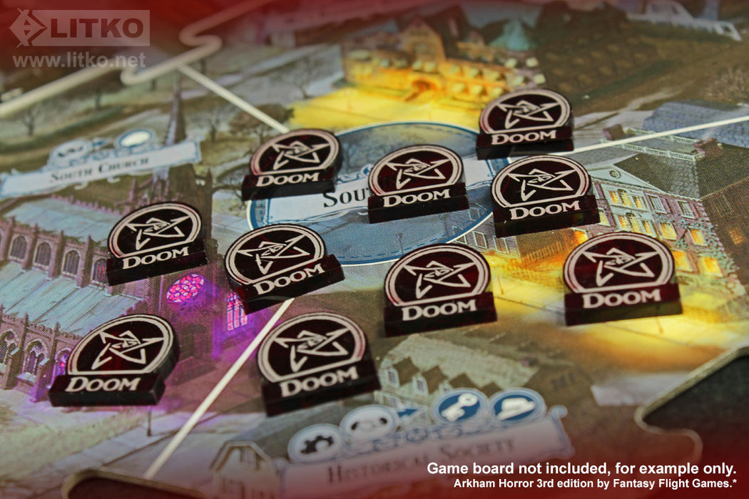 LITKO Doom Tokens Compatible with Arkham 3rd Edition, Translucent Red (10) - LITKO Game Accessories
