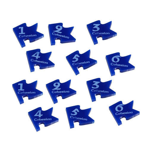 LITKO Cohesion Tokens Numbered 1-6 Compatible with Dux Bellorum, Blue (12) - LITKO Game Accessories
