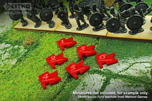 LITKO Cohesion Tokens Numbered 1-6 Compatible with Dux Bellorum, Red (12) - LITKO Game Accessories