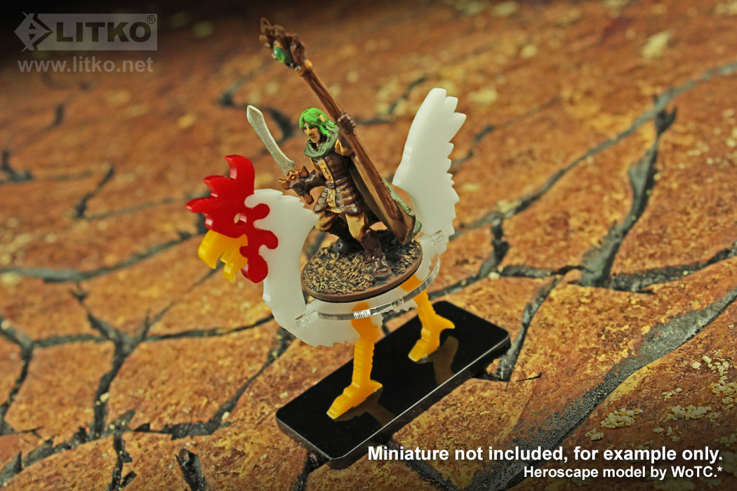 LITKO Giant Chicken Character Mount with 25x50mm Base, White - LITKO Game Accessories