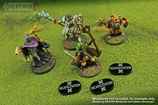 LITKO Incapacitation Tokens compatible with the Savage Worlds Game System, Black (10) - LITKO Game Accessories