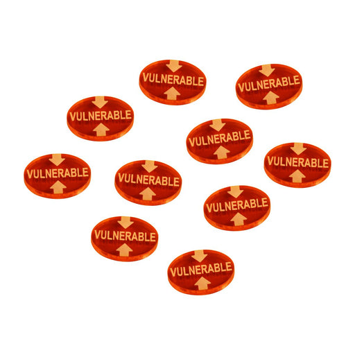 LITKO Vulnerable Tokens compatible with the Savage Worlds Game System, Fluorescent Amber (10) - LITKO Game Accessories