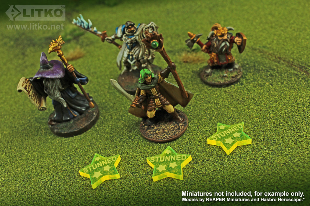 LITKO Stunned Tokens compatible with the Savage Worlds Game System, Fluorescent Yellow (10) - LITKO Game Accessories