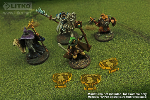 LITKO Conviction Tokens compatible with the Savage Worlds Game System, Transparent Yellow (10) - LITKO Game Accessories