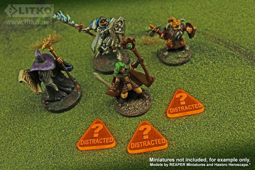 LITKO Distracted Tokens compatible with the Savage Worlds Game System, Fluorescent Orange (10) - LITKO Game Accessories