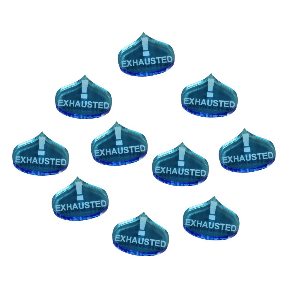 LITKO Exhausted Tokens compatible with the Savage Worlds Game System, Fluorescent Blue (10) - LITKO Game Accessories