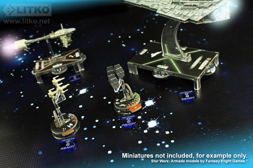 LITKO Double Sided Veteran Ship Tokens Compatible with SW: Armada, Translucent Blue (10) - LITKO Game Accessories